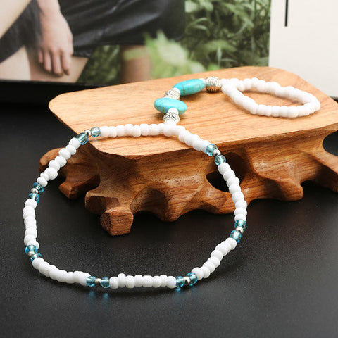 Bohemian Circle Turquoise White Handmade Beaded Stretch Anklet