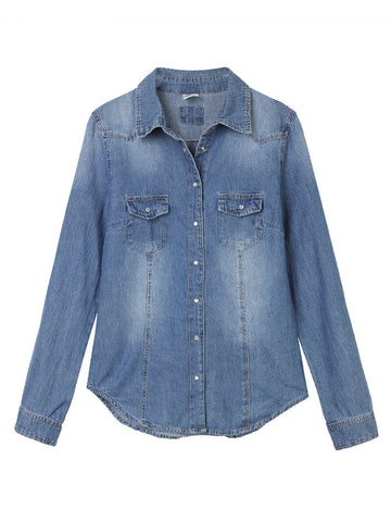 Casual Long Sleeve Button Blue Denim Shirt For Women