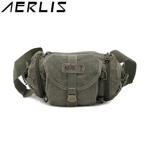 AERLIS Men Women Canvas Multifunctional Casual Waist Bag - shechoic.com