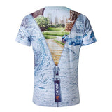 Men's Unqiue Cool 3D Solid Zipper Digital City Street Painting Casual T-shirt