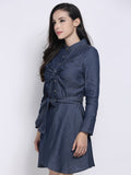 Solid V-Neck Long Sleeve Sexy Denim Dress For Women