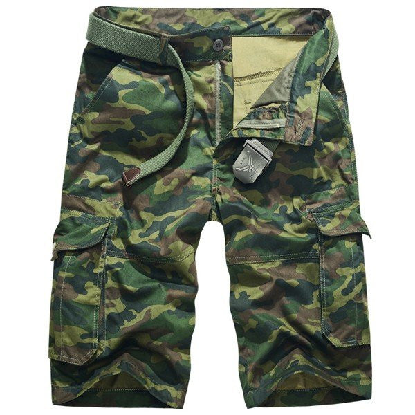 Men's Plus Size Summer Cotton Casual Outdoor Multi-pocket Military Camo Cargo Shorts