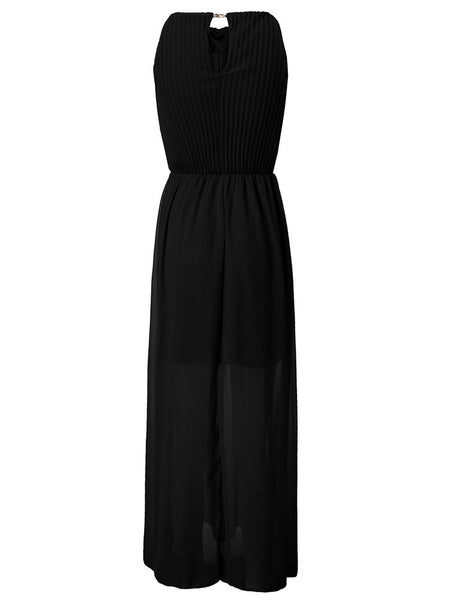 Chiffon Pleated Backless Halter Sleeveless Maxi Dress