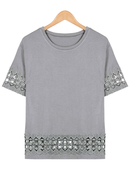Casual Women Loose Lace Stitching Short Sleeve Round Collar T-Shirt