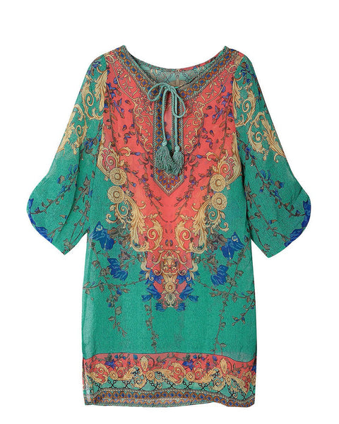 Women Boho Half Sleeve V Neck Floral Chiffon Mini Dress
