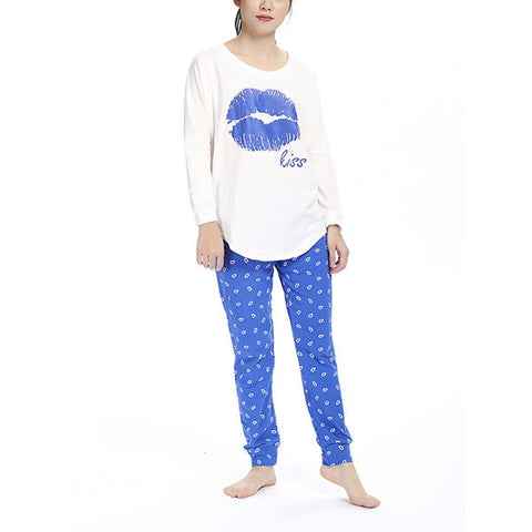 Casual Lip Printing Cotton Sleepwear Sets Long Sleeve Pajamas For Women