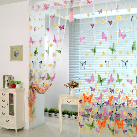 100*200cm Floral Butterfly Sheer Curtains Sheers Voile Tulle Window Curtain