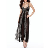 Sexy Leopard Print See Through Mesh Babydoll Spaghetti Strap Nightgown For Women