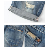 Summer Overknee Stylish Worn Hole Jeans Washed Denim Shorts For Men