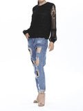 Women Long Lantern Sleeve O Neck Black Lace Hollow Patchwork T-shirt