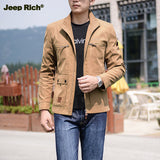 JEEP RICH Men's Spring Outdoor Waterproof Polyester Jacket Zipper Stand Collar Coat Working Resist W