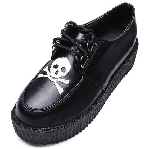 Skull Black Pu Platform Shoes