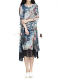 Women Short Sleeve Floral Printed False Two Pieces Vintage Dress