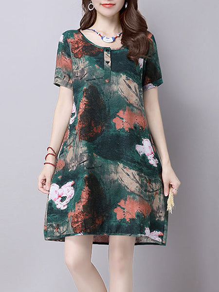 Vintage Short Sleeve O Neck Floral Printed Dress For Women