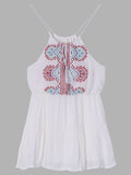 Women Strap O Neck High Waist Drawstring Embroidery Cotton Mini Dress