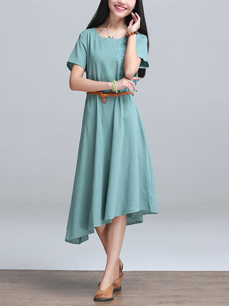 Women Short Sleeve O Neck Embroidery Irregular Hem Pure Color Cotton Linen Dress