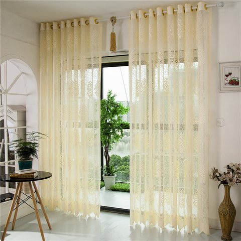 2 Panel Jacquard Hollow Out Punching Window Screening Sheer Curtains Home Decor