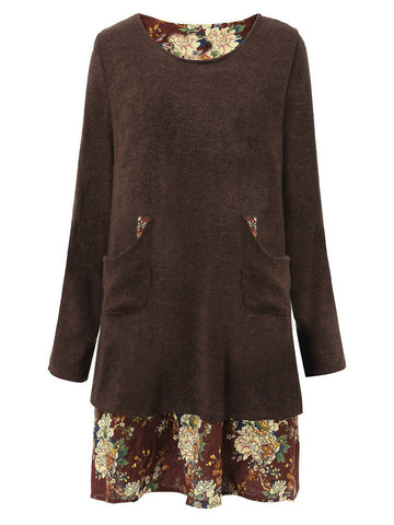 Pocket Casual Floral Patchwork Long Sleeve O-neck Dress
