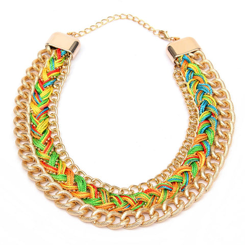 Waving Rope Multicolor Alloy Statement Necklace