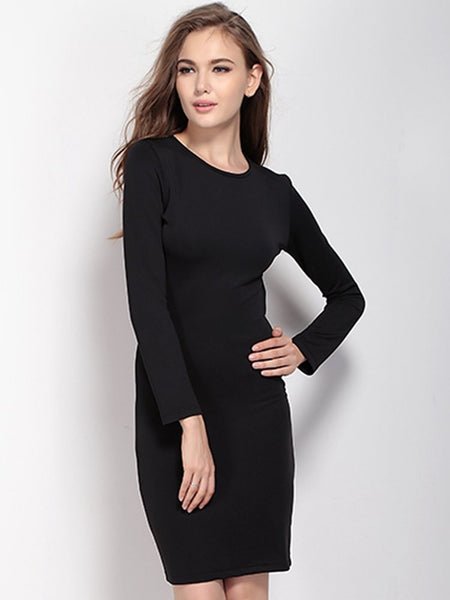 Women Sexy Backless Zipper Long Sleeve O Neck Pure Color Slim Mini Dress