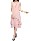Women Sleeveless Fake Two Pieces Pure Color Vintage Dress