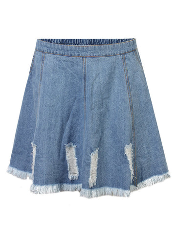 Retro Elastic Waist Ripped Denim Mini Skirt For Women