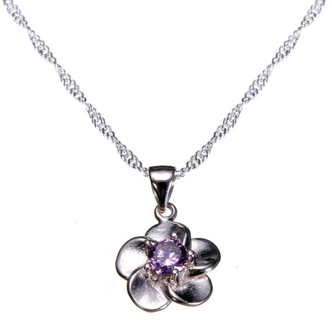 White Purple Crystal Flower Pendant Necklace