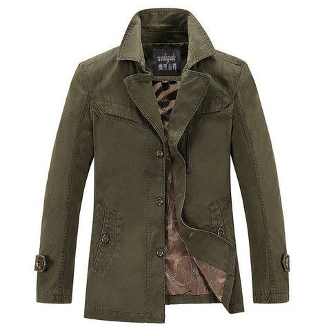 Men's Casual British Style Slim Fit Down Collar Pure Cotton Jacket Windcoat