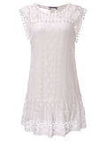 Women Lace Crochet Sleeveless Solid Patchwork Bohemian Mini Dress