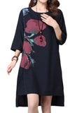 Vintage Women Ink Printed 3/4 Sleeve High Low Side Split Loose Cotton Linen Dress
