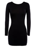 Women Sexy Backless Cross Strap Bodycon Long Sleeve O-neck Mini Dress