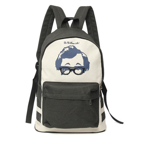 Kids Canvas Casual Glasses Backpack Rucksack Shoulder Bag Travel School Bookbag