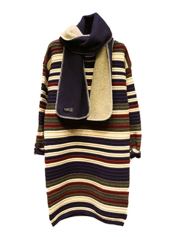Women Long Sleeve Stripe Knit Mid-Long Sweater Dress