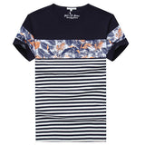 Summer Mens Floral Patterns Striped T shirts Round Neck Short sleeved Modal Cool Top Tees