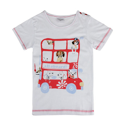 Lovely Pet Bus Baby Children Boy Pure Cotton Short Sleeve T-shirt Top