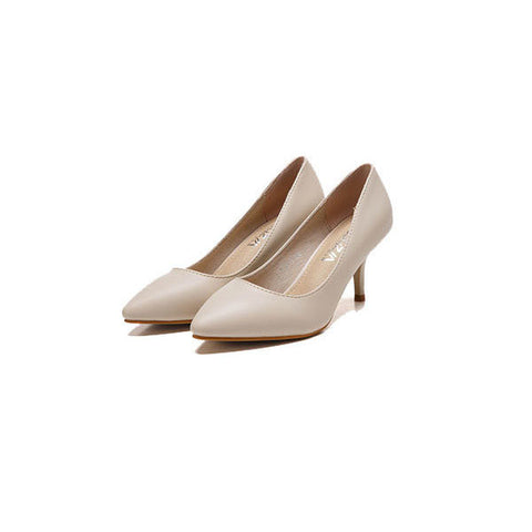Candy Color Office Lady Pointed Toe Slip On Thin High Heel Pumps