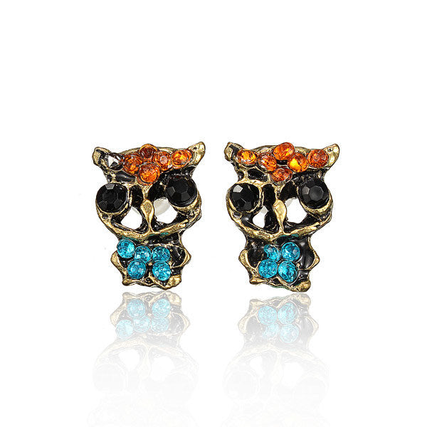 Owl Inlay Rhinestone Alloy Stud Earrings