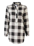 Women Plaid Loose Long Sleeve Lapel Shirt Dress