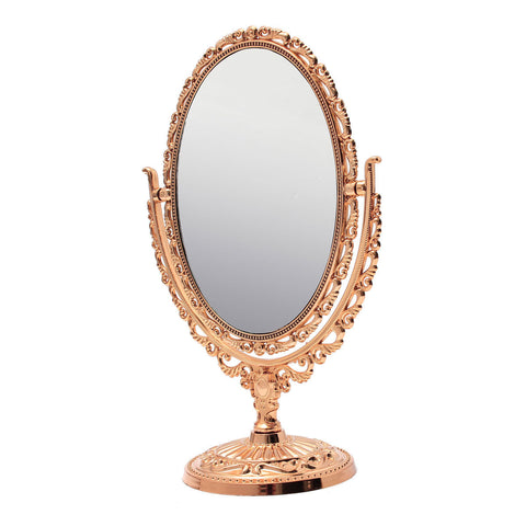 Exquisite Oval Double-sided Makeup Vanity Mirror Classical Toilet Glass Stand Mirrors
