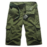 Mens Plus Size Summer Cotton Casual Multi pockets Military Cargo Shorts