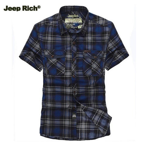 Jeep Rich Mens Summer Cotton Grid Casual Turn-down Collar Short Sleeved Shirts