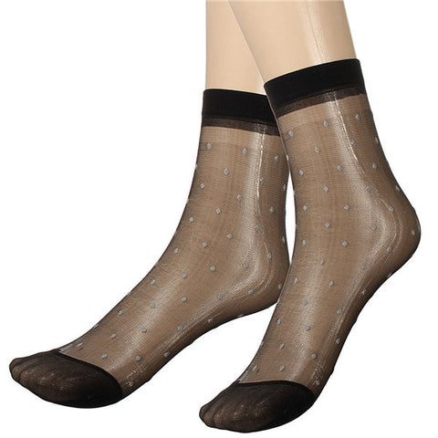 10 pairs Lady Girl Lace Ultra-thin Fiber Denier Sheer Ankle High Pop Dots Socks - shechoic.com
