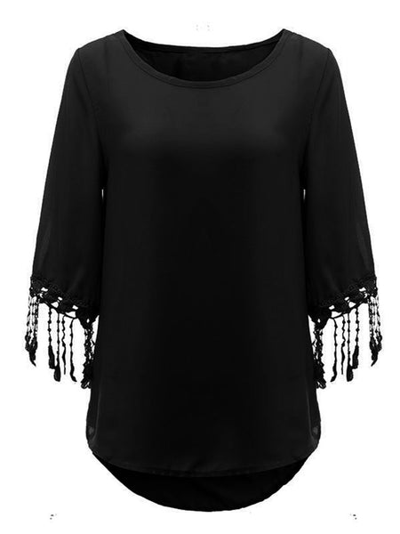 Women Half Sleeve Tassels Pure Color Chiffon T-shirt