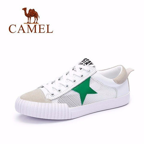 Camel Sude Mesh Star Breathable Color Match Lace Up Casual Sport Shoes