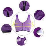 Women Sexy Shockproof Sports Bras Front Zipper Breathable Yoga Vest Bras