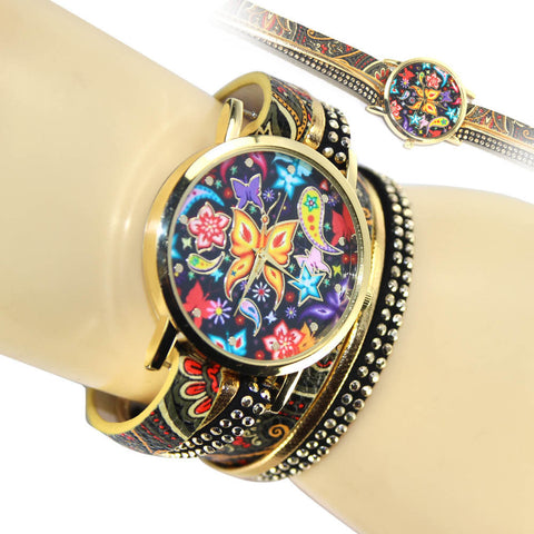 Alloy Colorful Butterfly Rivets Leather Watch