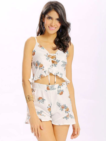 Women Sexy Floral Print Hollow Cross Strap Camisole Backless Suit