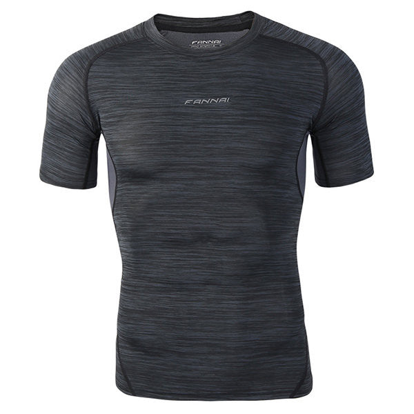 Mens Elastic Quick-drying Fitness Short Sleeve Skinny T-shirts Basketball Jogging Training Tops