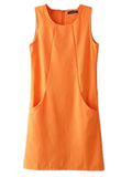 Women Sleeveless O Neck Pure Color Pocket Cotton Linen Dress