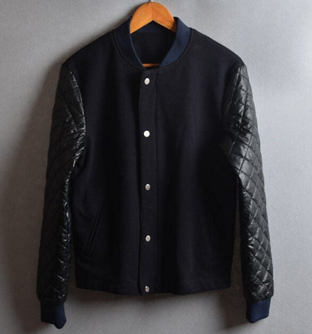 5b6f00b5b845d Men s Casual Stylish PU Leather Sleeve Splice Large Size Baseball Jacket.  Sale